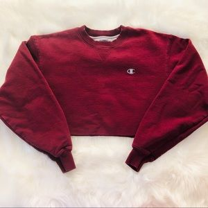 Champion Vintage Maroon Crop Top Sweater